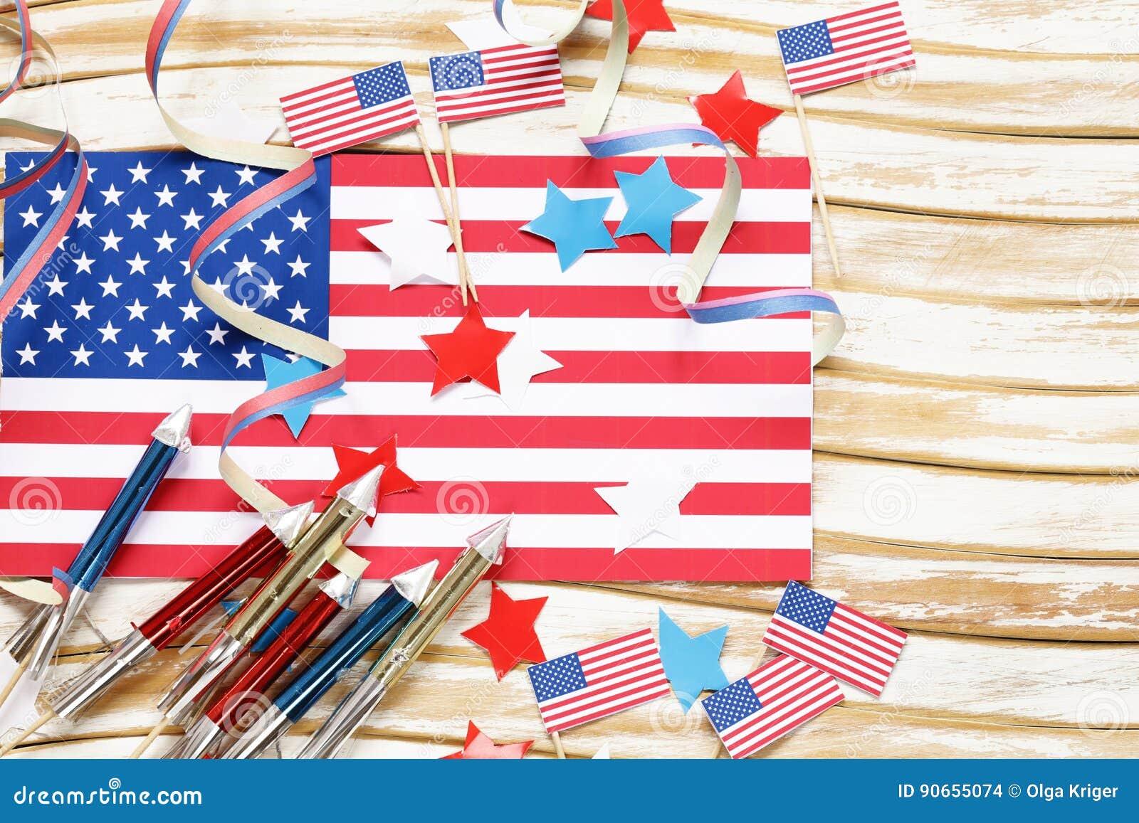 Background With Symbols Of America Celebration Of July 4 Stock