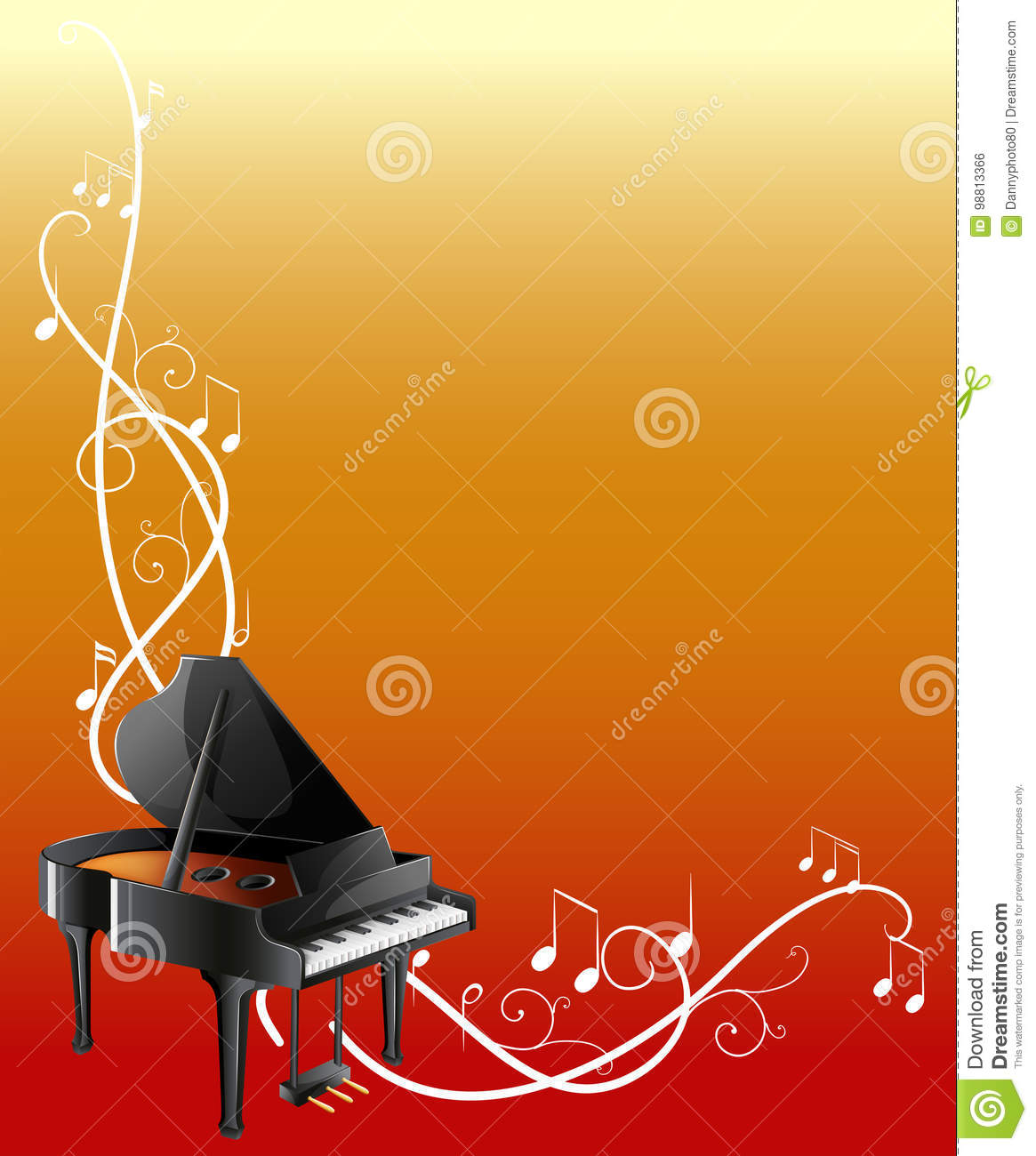 background template with grand piano stock vector illustration of