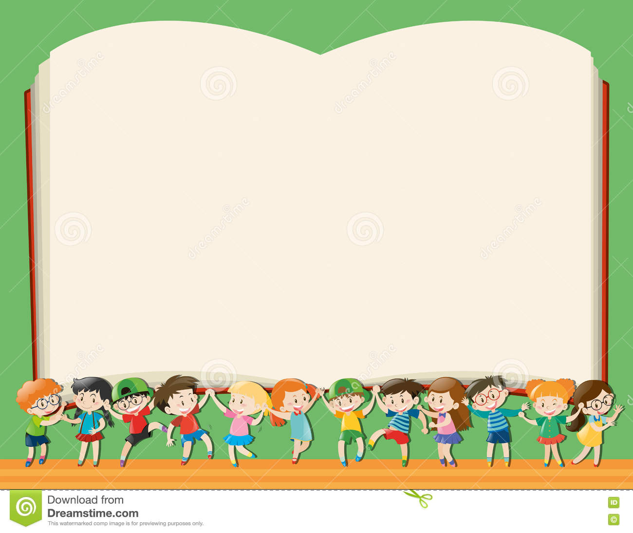 Background template with kids holding big book illustration.