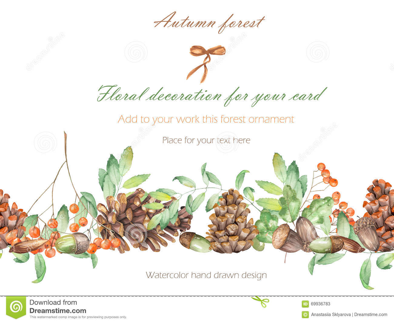 background template postcard forest ornament with the watercolor