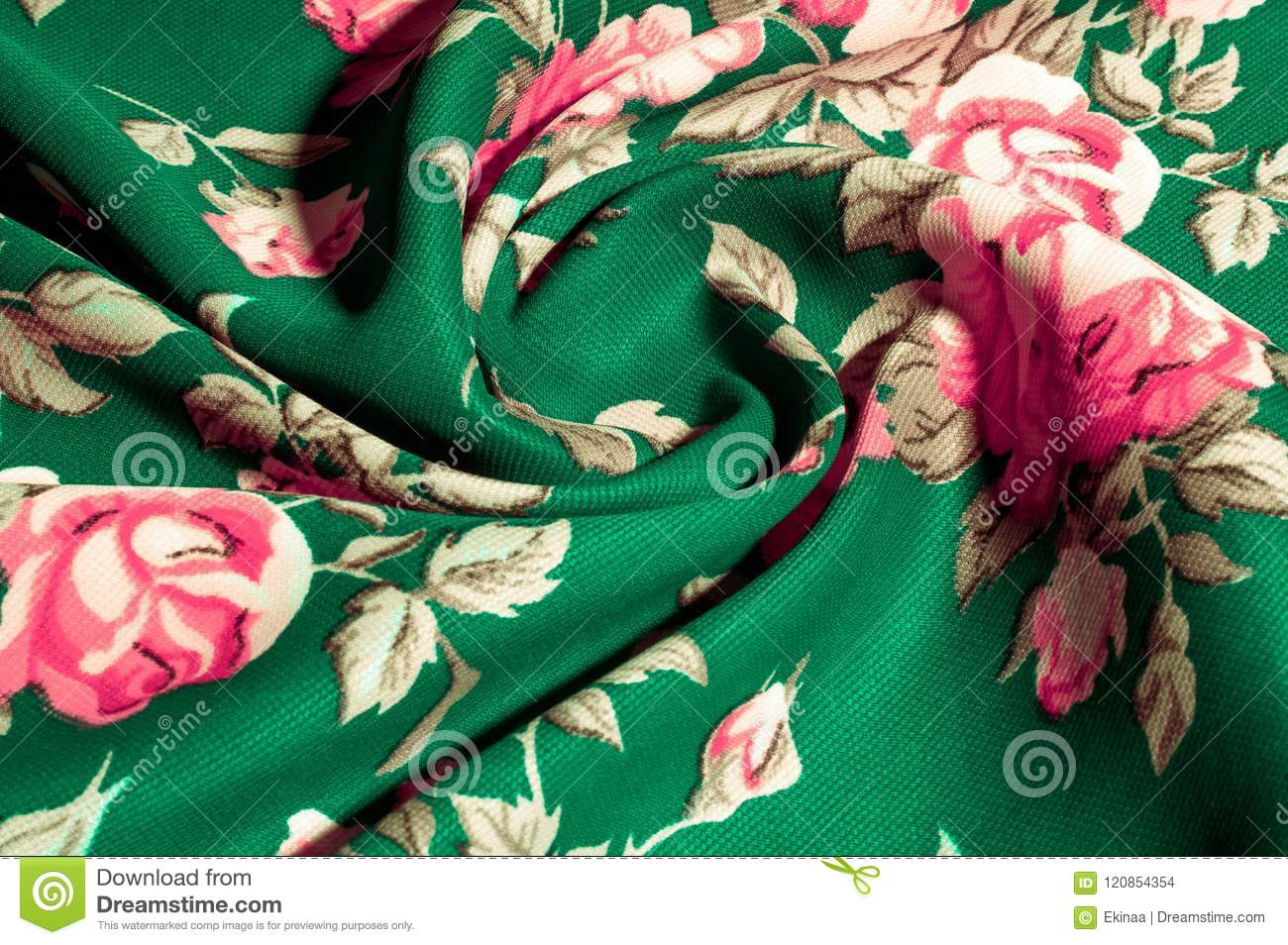 Background Texture Pattern Green Fabric With Painted Rose Flo