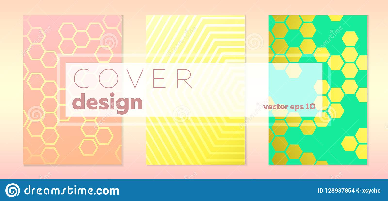 hexagon backgrounds vector set of cover designs stock vector
