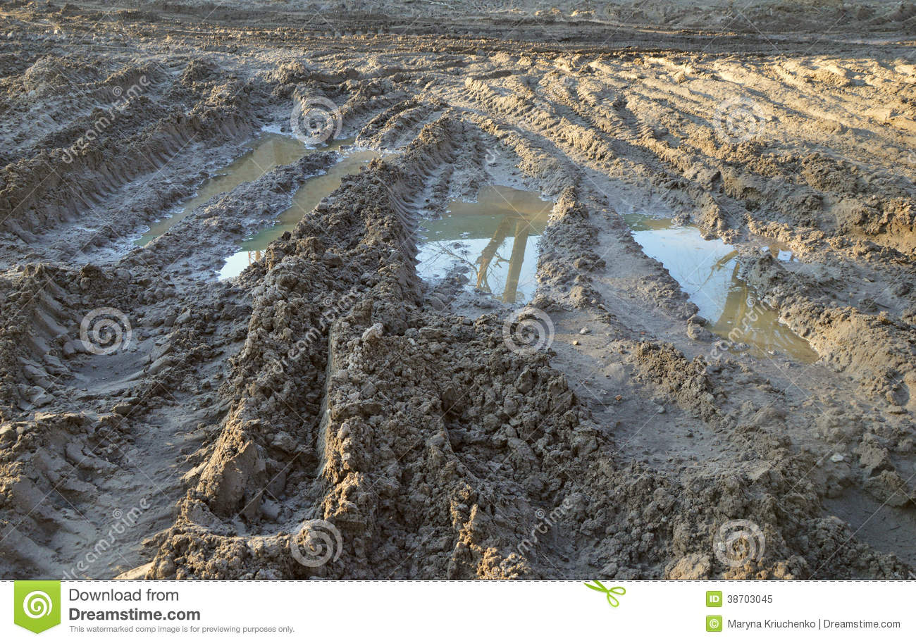 Background Tracks From Tires On The Clay Off-road Stock Image