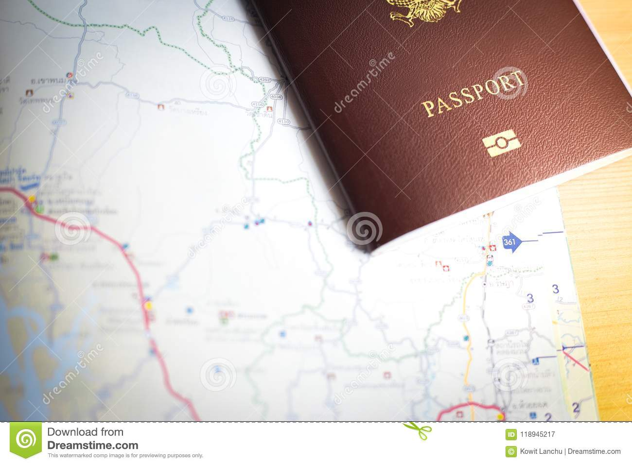 Background of travel with passport and map