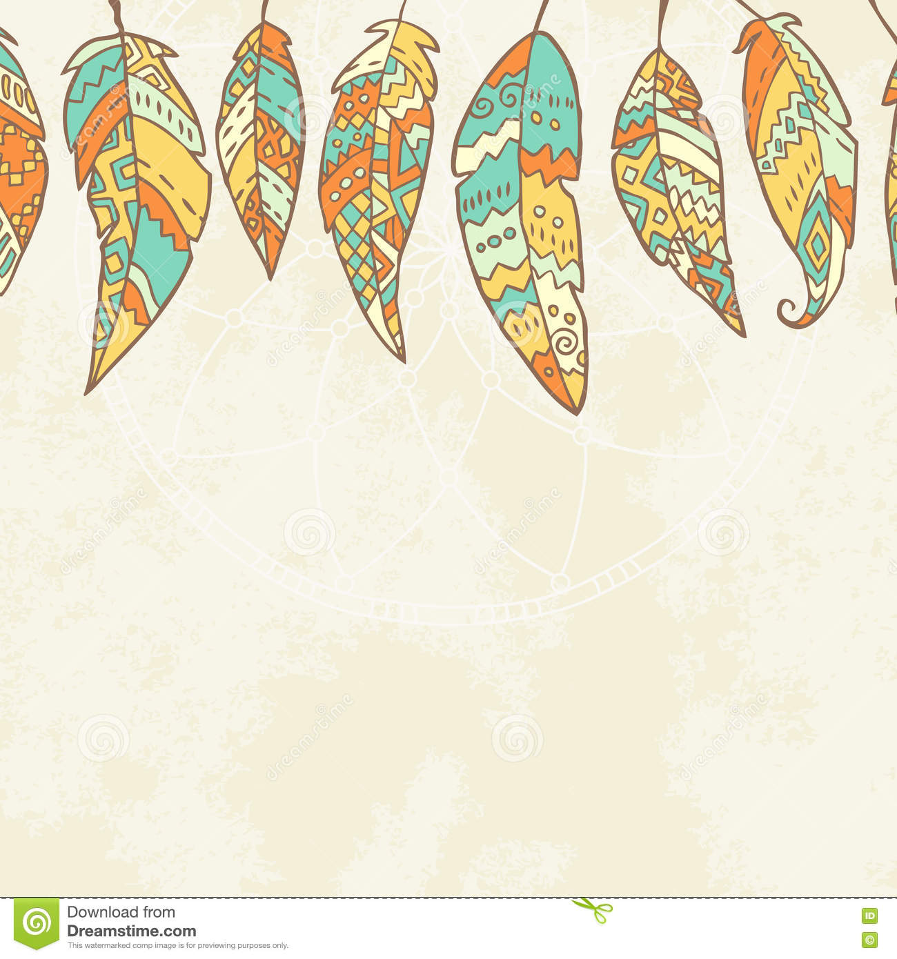 Background With Tribal Feathers, Dream Catcher Stock ...