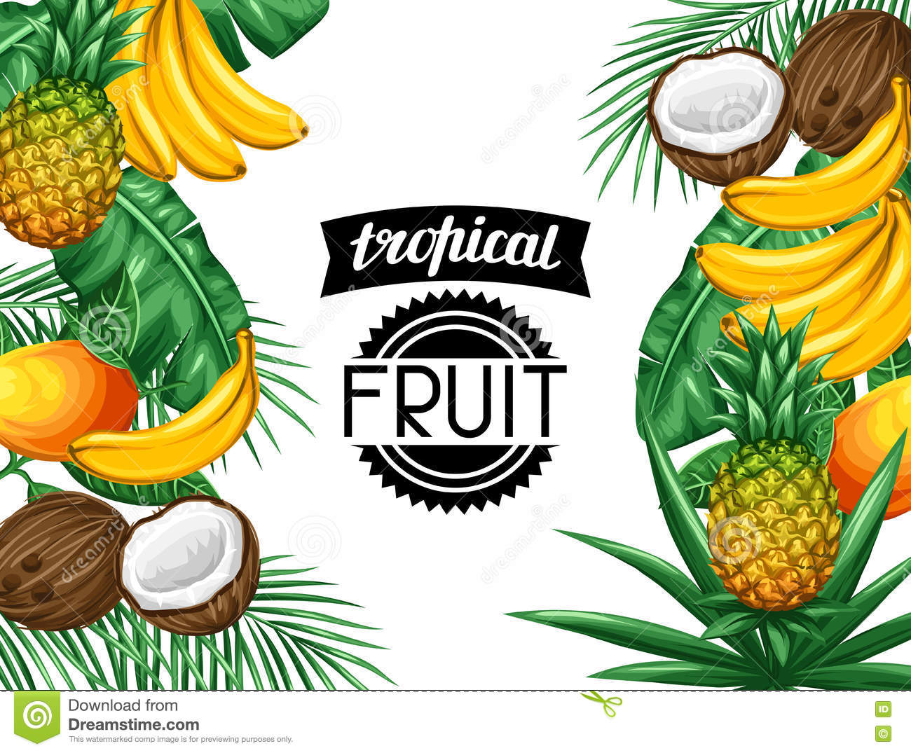 Background With Tropical Fruits And Leaves Design For