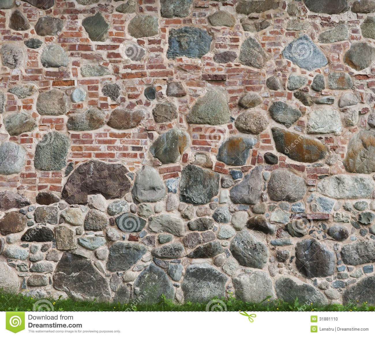 Background of two different pattern brick and stone walls for Stone and brick
