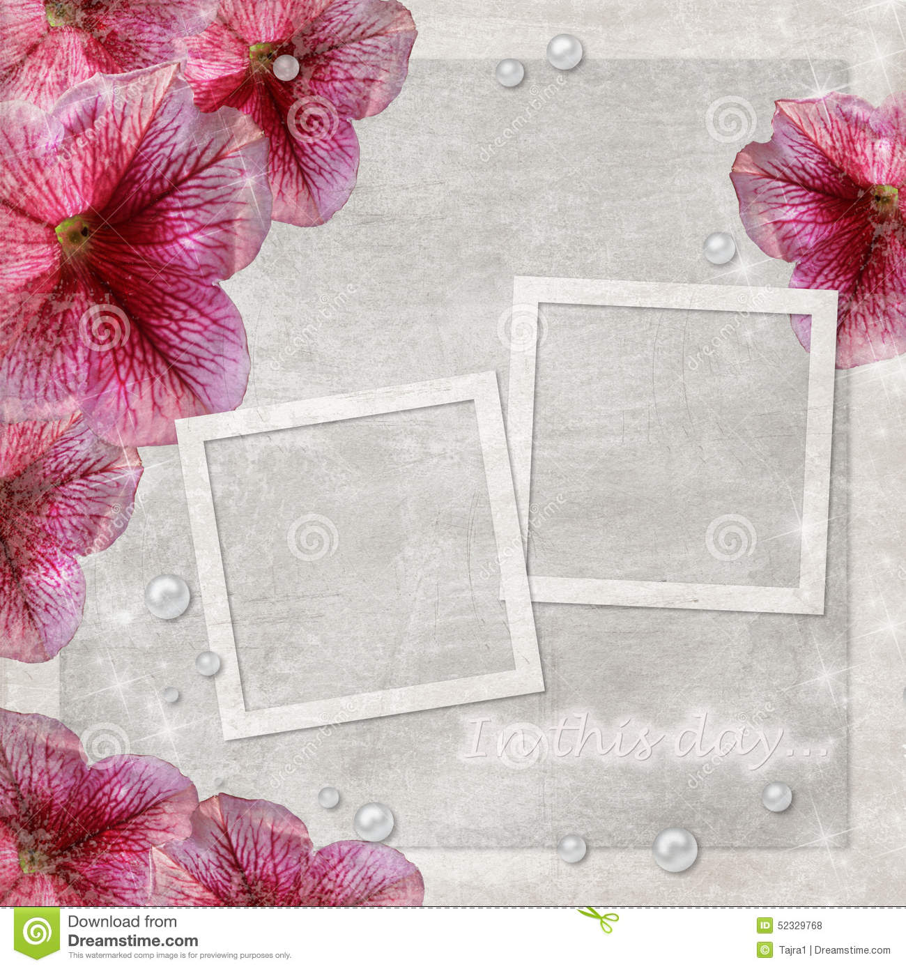 Background With Two Frames And Flowers Stock Photo Image Of Frame