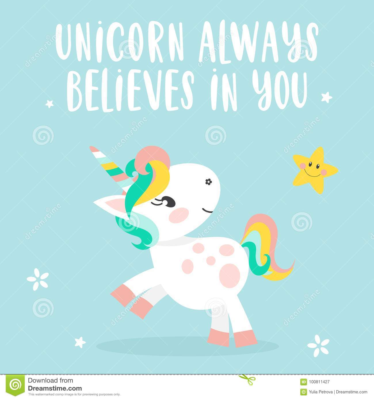 Background With Unicorn And Quote Stock Vector Illustration Of