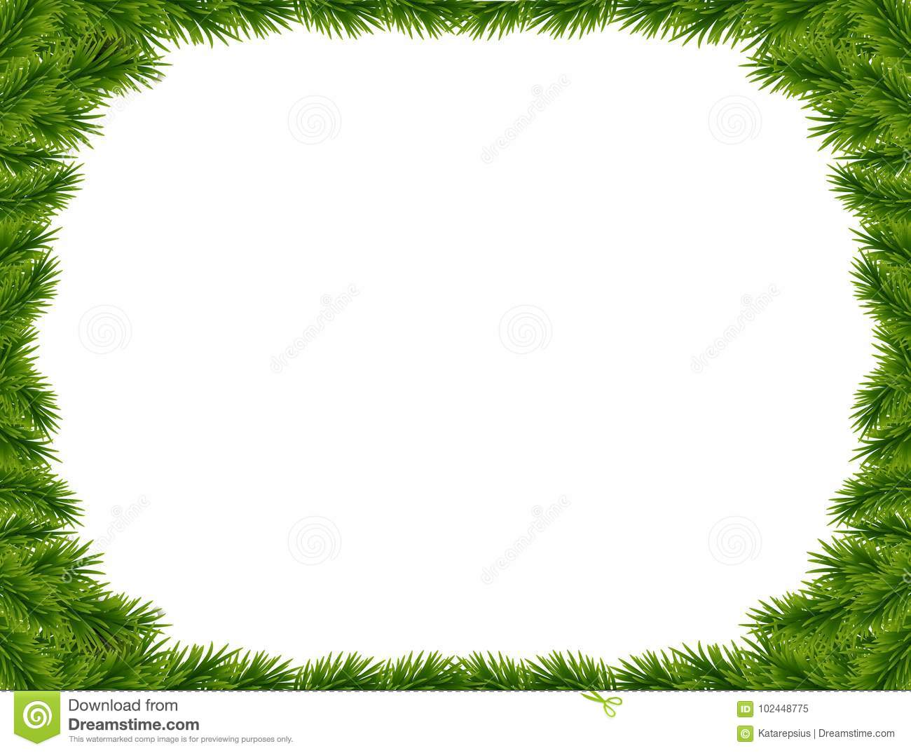 Vector Christmas Tree.Background With Vector Christmas Tree Branches And Space For