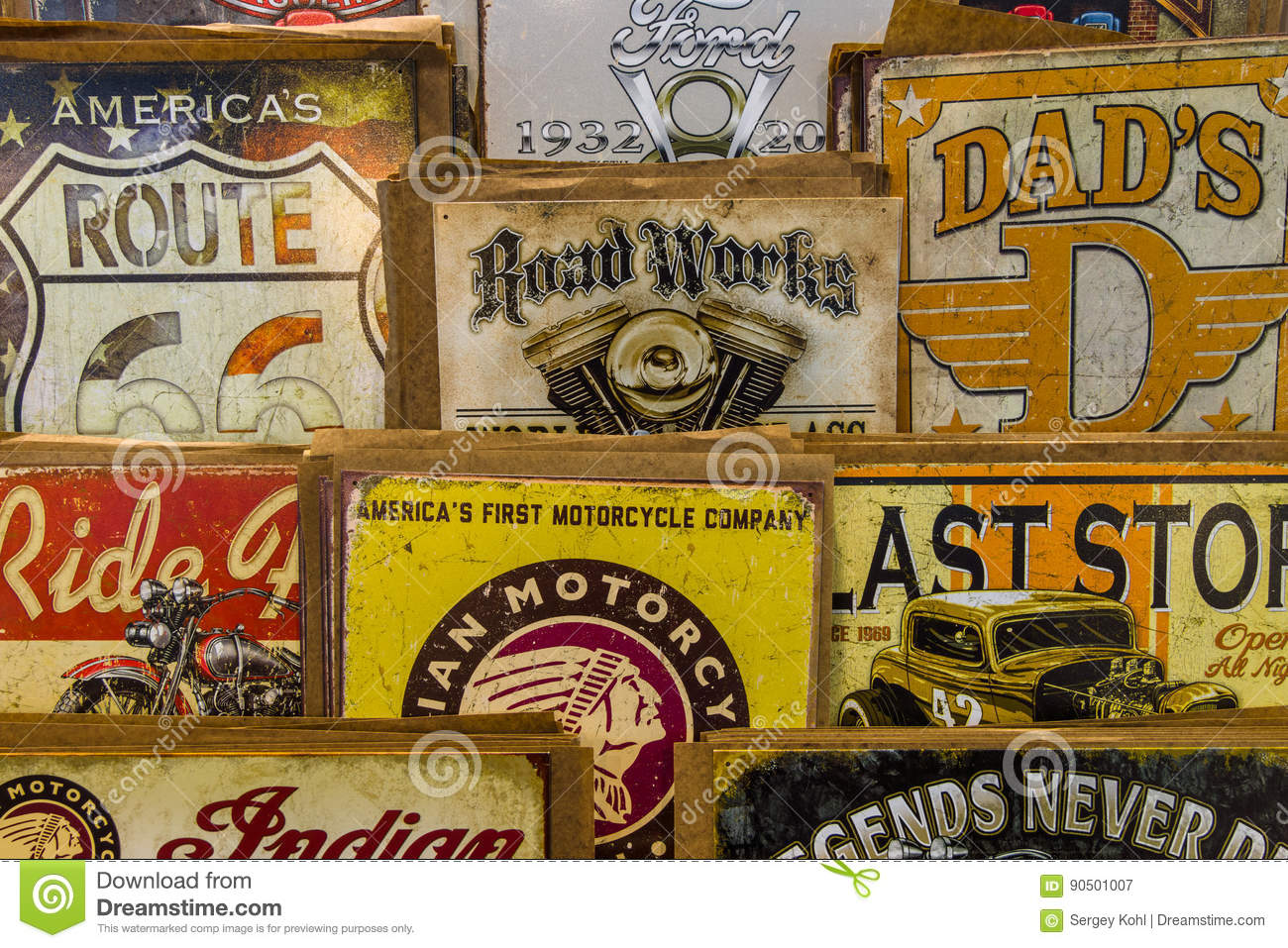 Background of vintage advertising signs.