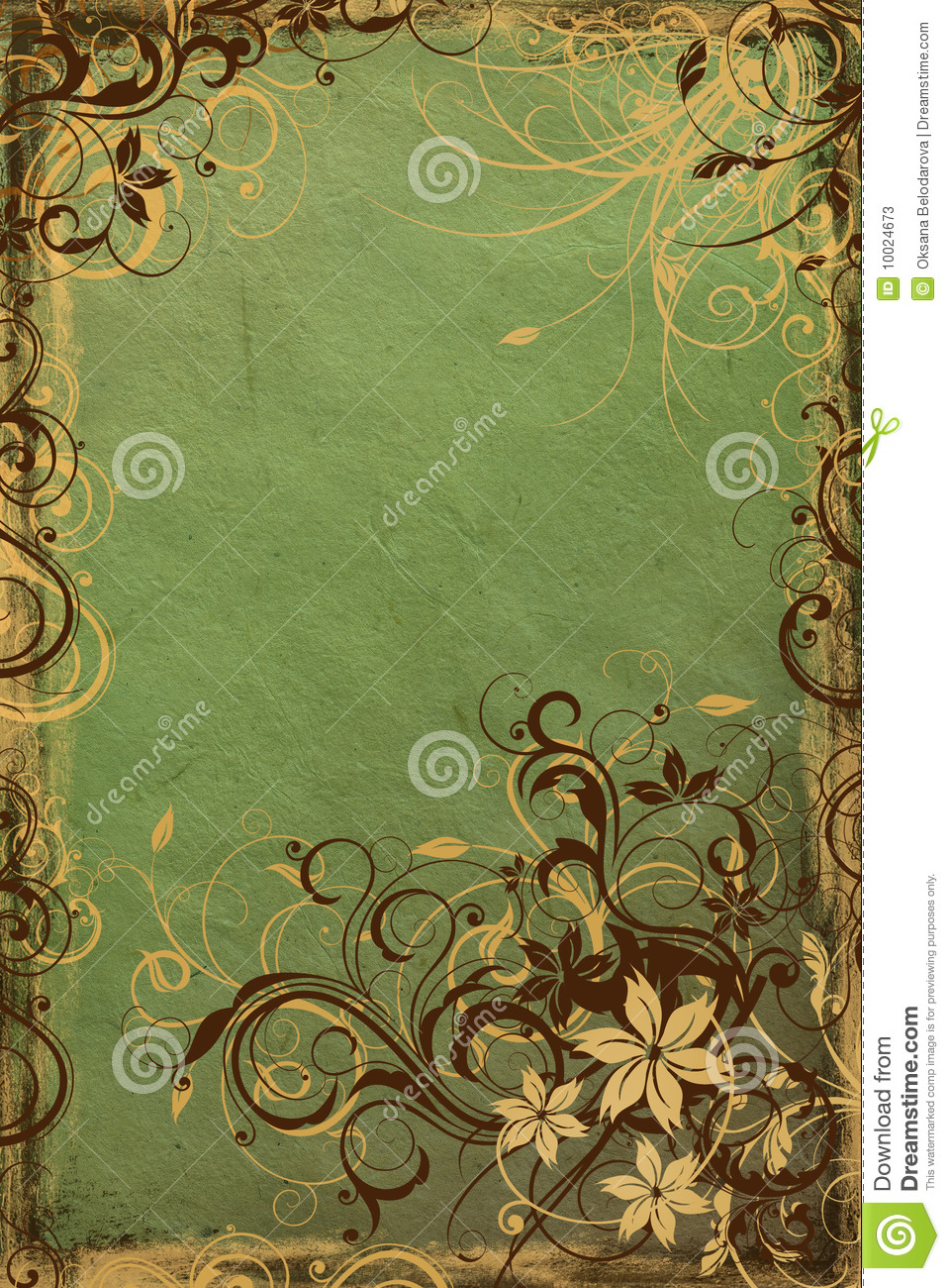 Background From Vintage Green Paper With Swirls Stock