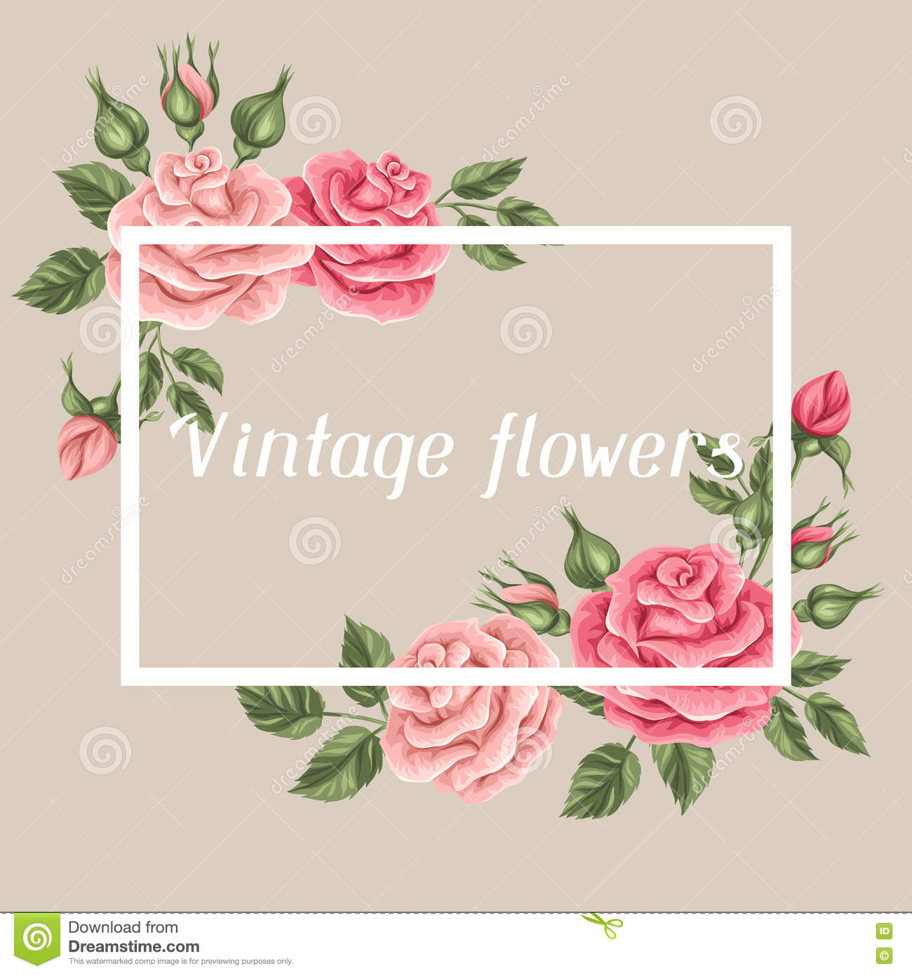 Background With Vintage Roses. Decorative Retro Flowers. Image For ...