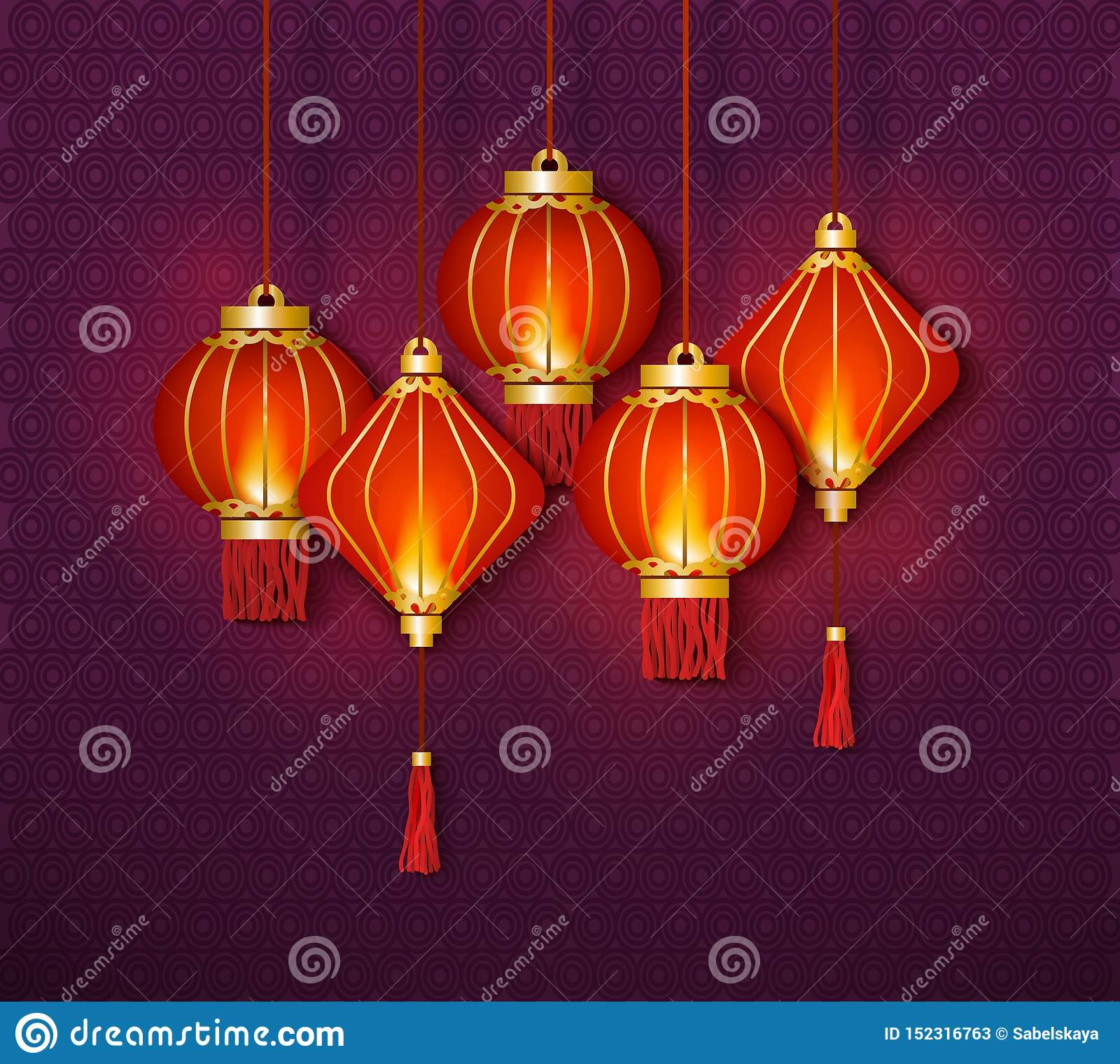 Background And Wallpaper With Chinese Lantern And Lamps Stock Vector Illustration Of Graphic Light 152316763