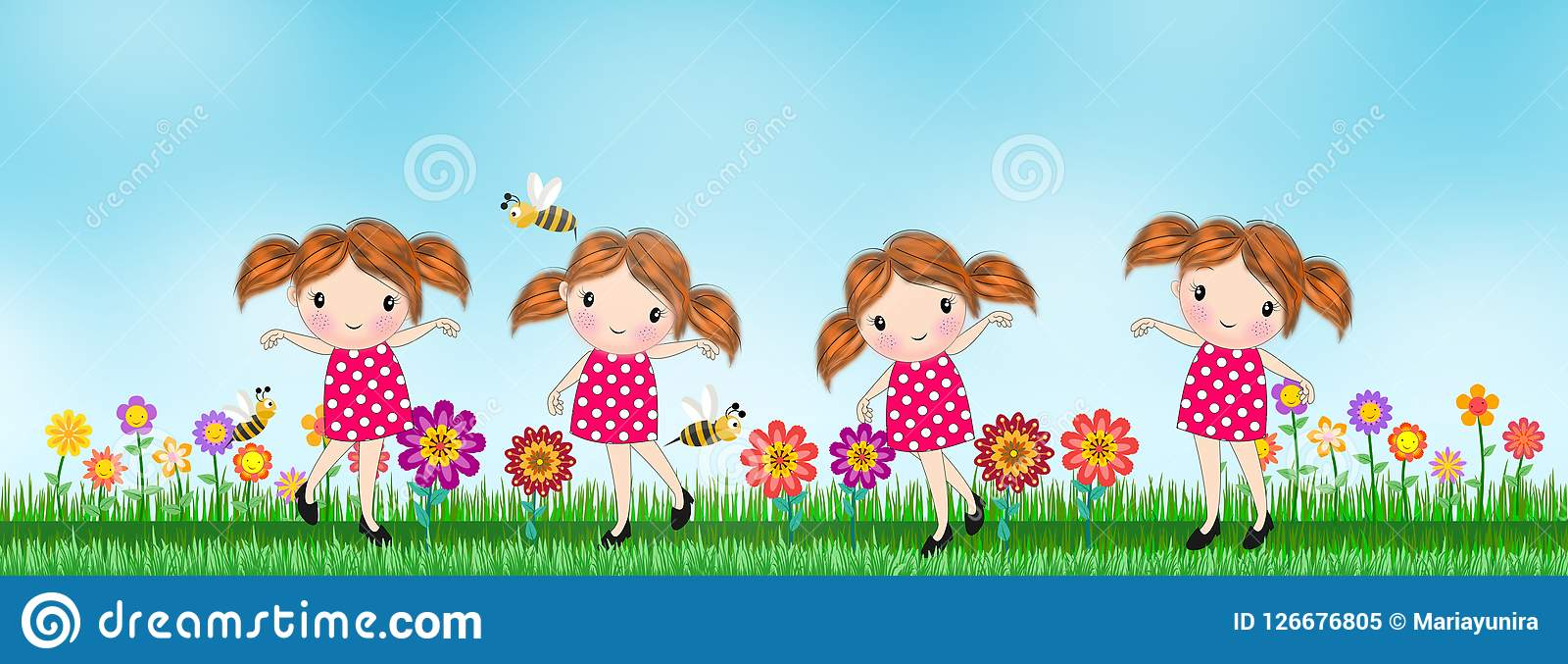 Kids Girl With Background Flower In The Meadow Stock