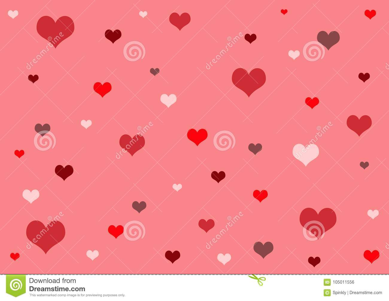 Red Shades Of Heart Pattern Wallpaper