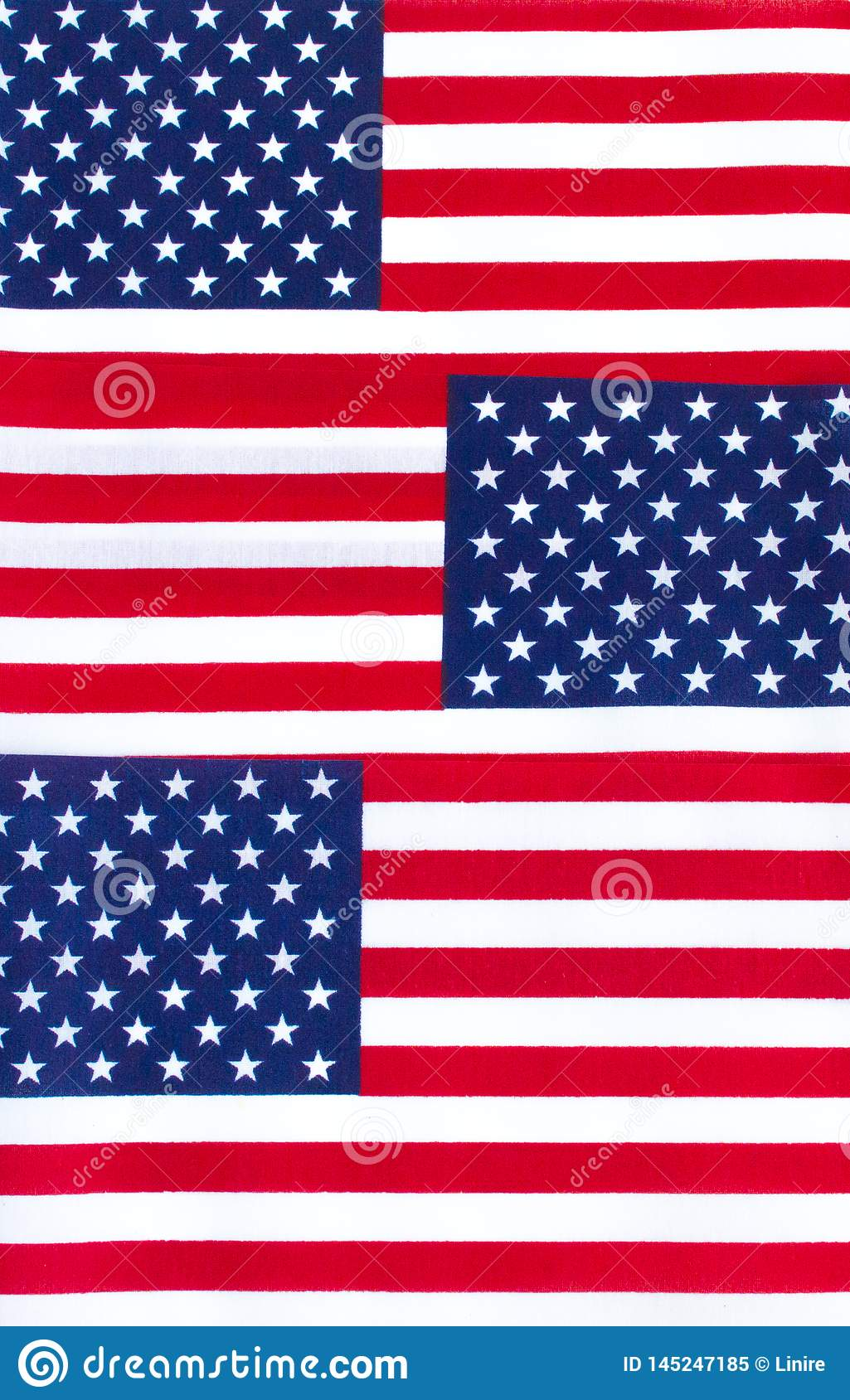 Background Wallpaper Three American Flags In A Row Stock Image