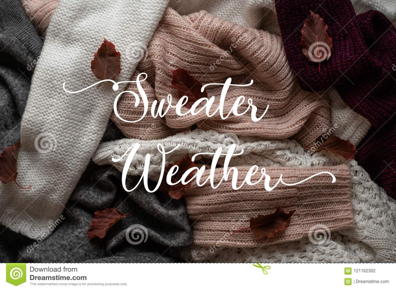ad09466f73 Background with warm sweaters and the inscription SWEATER WEATHER. Pile of knitted  clothes with autumn leaves
