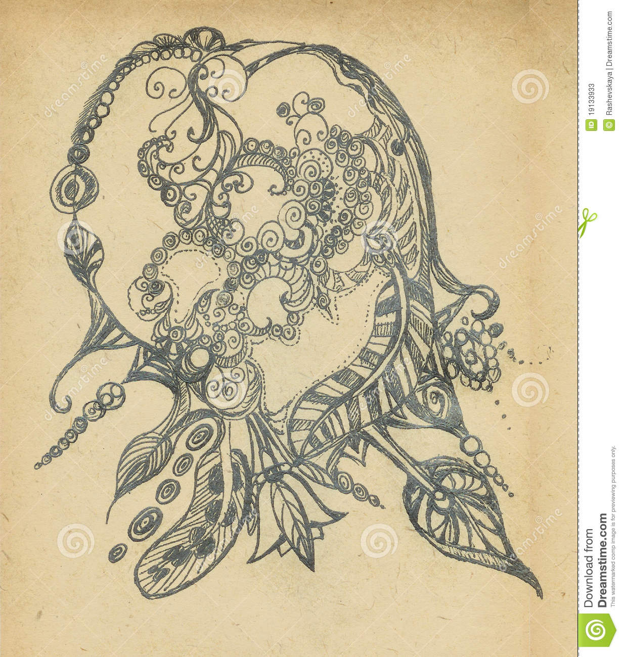 Background whis the drawn decorative pattern