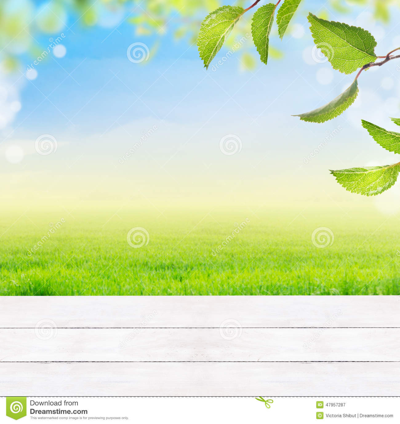 background with white wooden table,grass,green leaves,blue sky,grass and bokeh