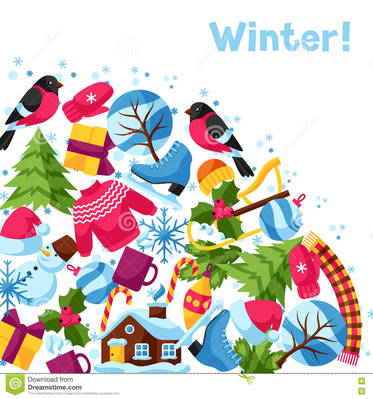 background with winter objects merry christmas happy new year holiday items and symbols