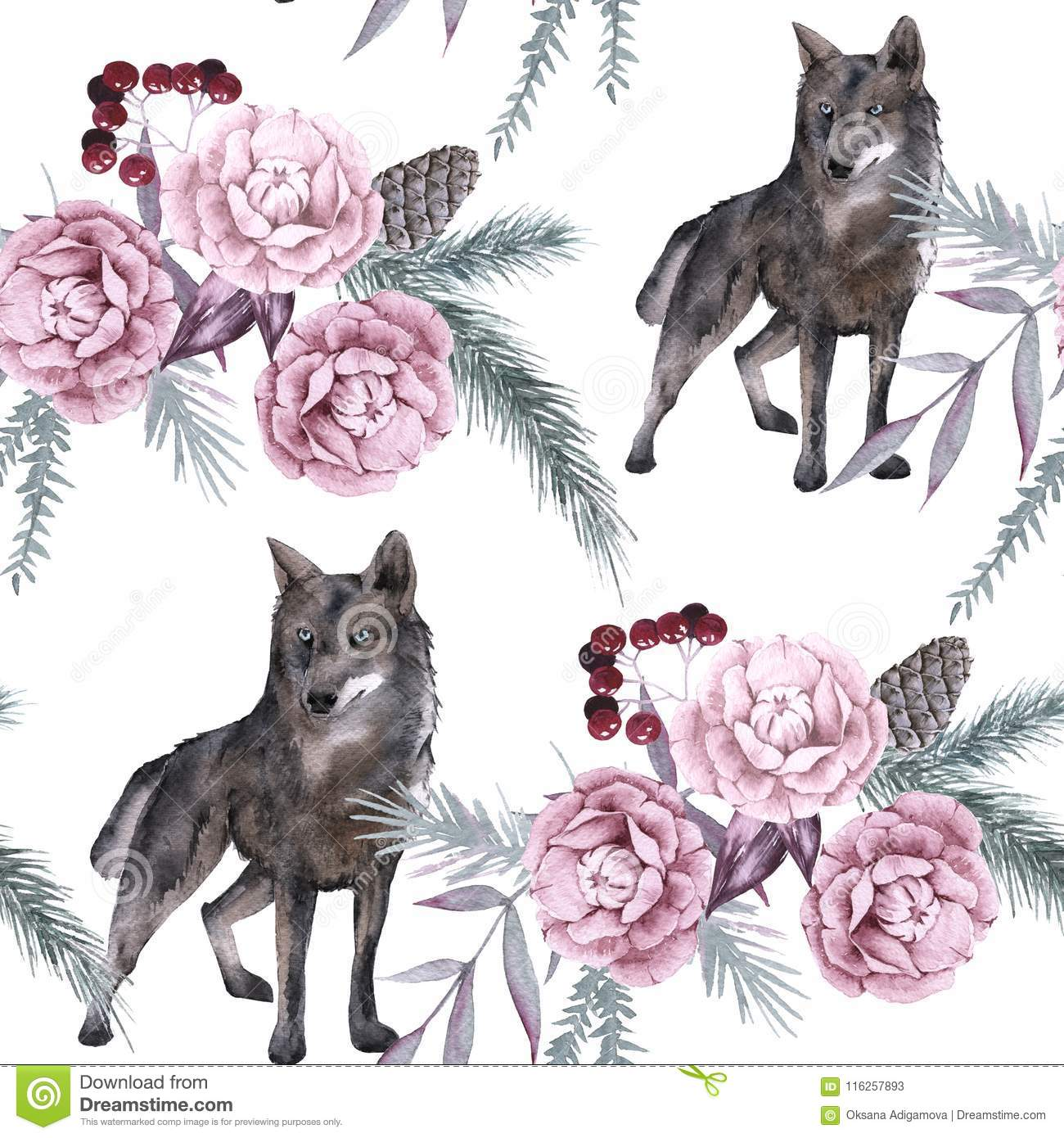 Background with a wolf and Siberian plants. Seamless pattern.