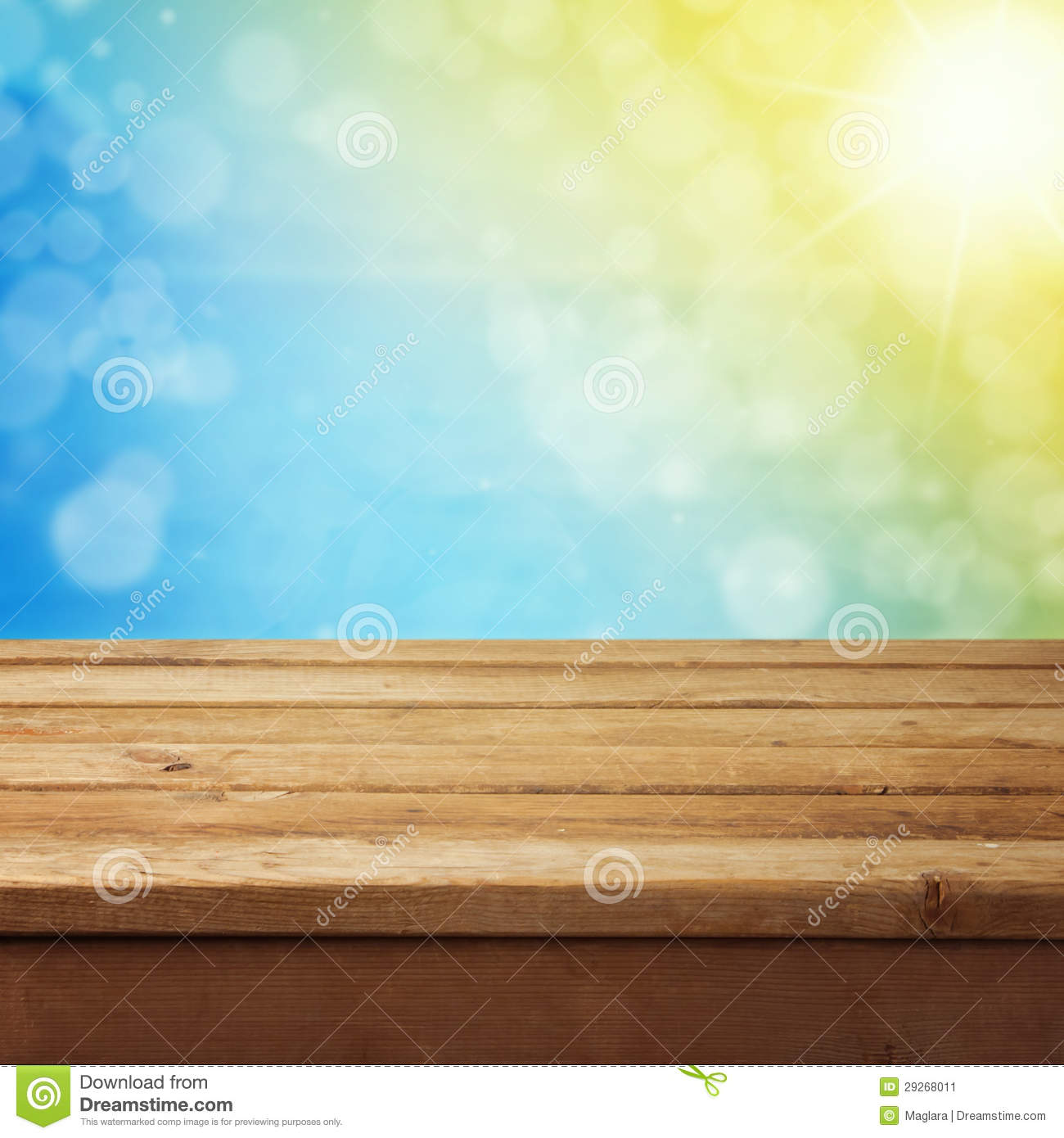 Background with wooden deck table stock image