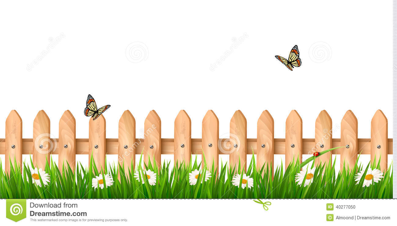 Background With A Wooden Fence With Grass Flowers Stock