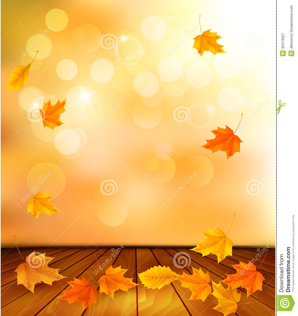 Background With Wooden Floor And Autumn Leaves. Royalty Free Stock ...