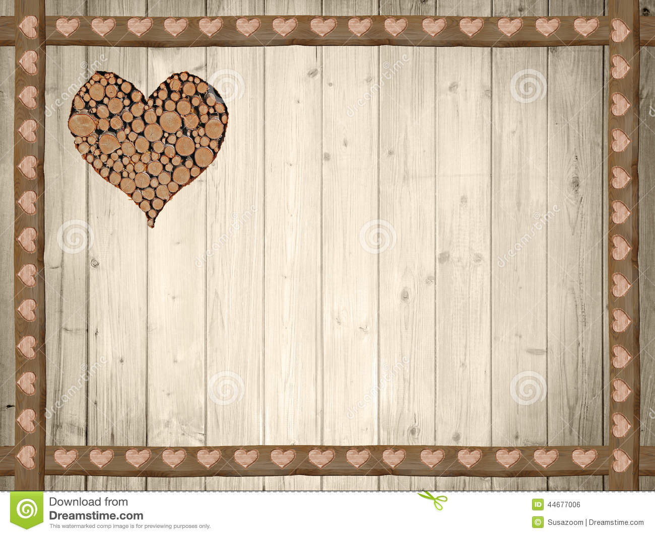 Background of wooden planks, wooden border with hearts
