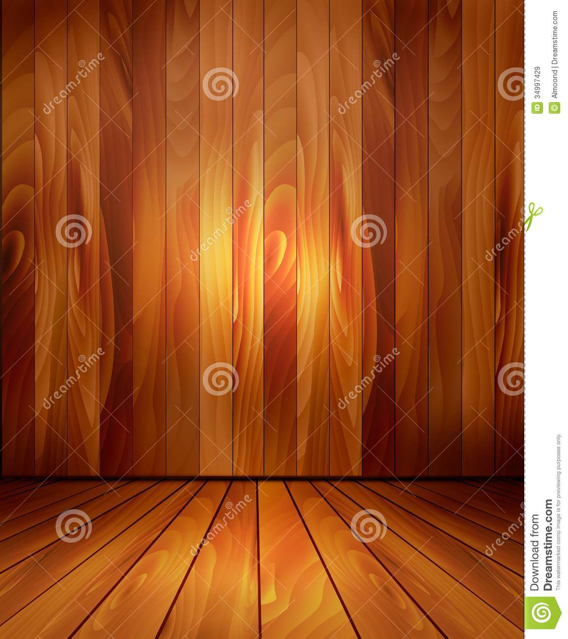 Background With Wooden Wall And A Wooden Floor Stock