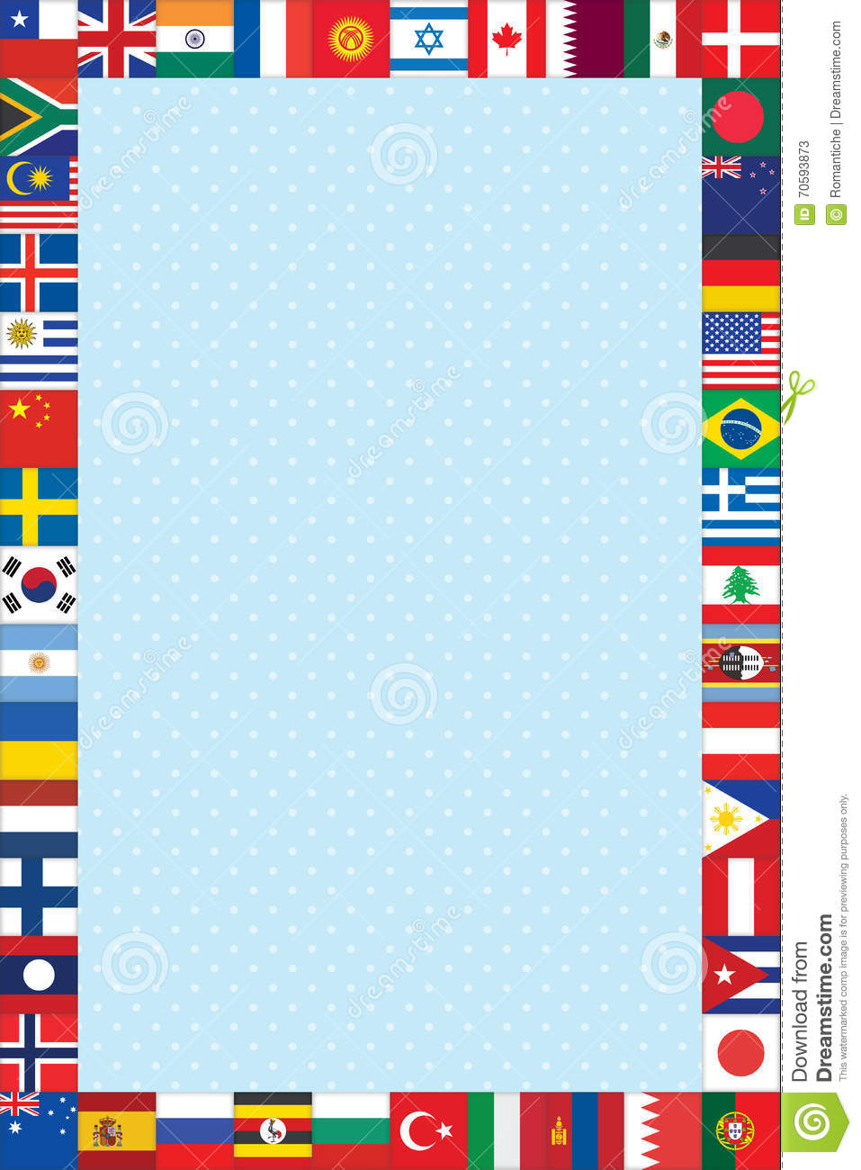 Background With World Flags Frame Stock Vector - Image