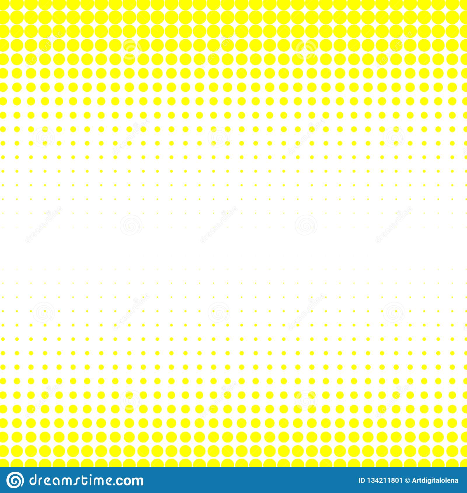 The background of yellow dots of different sizes have different density on the white.