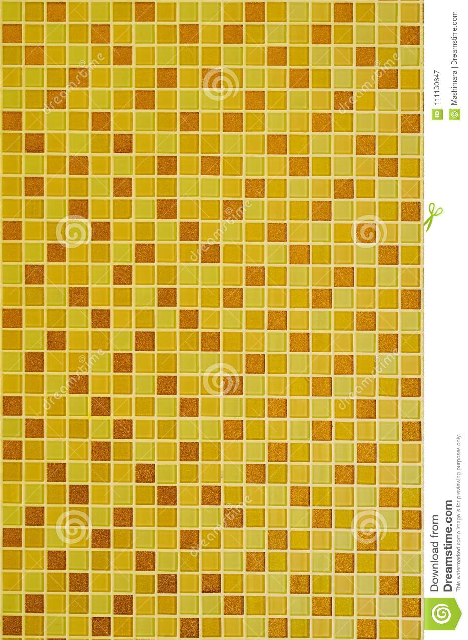 Background Of Yellow Golden Mosaic Tiles For Bathroom And Kitchen ...