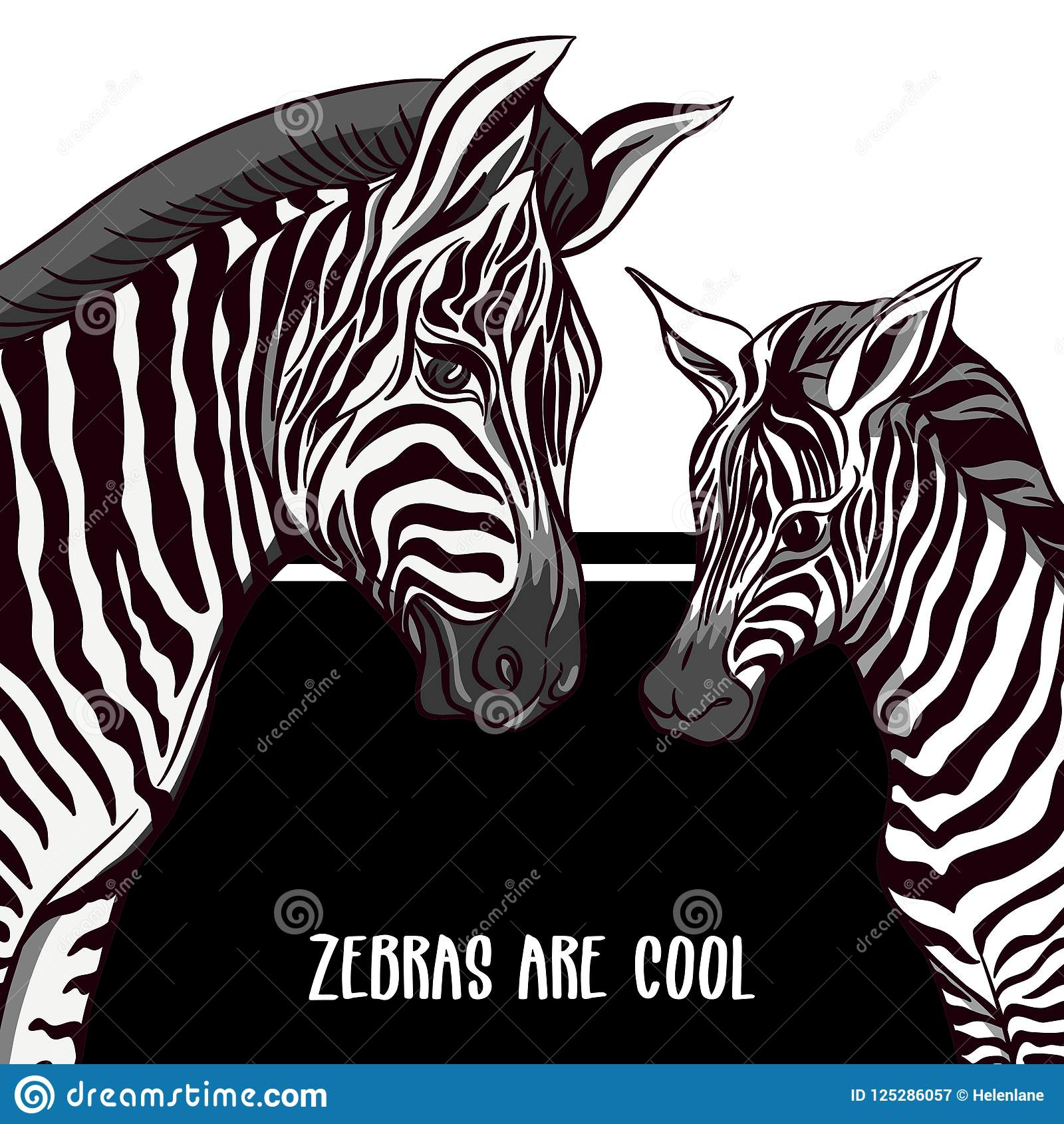 Background With Zebras Vector Illustration Stock Vector