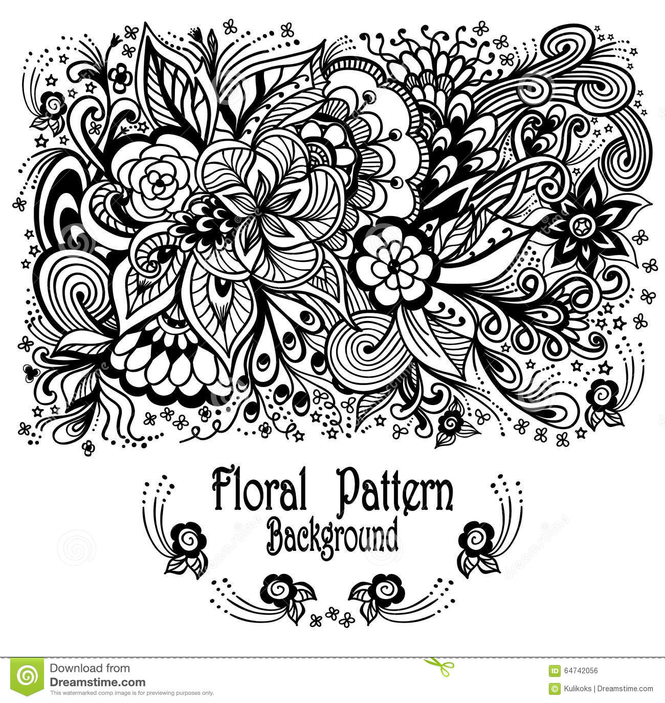 Background With Zen Doodle Flowers Pattern Black On White