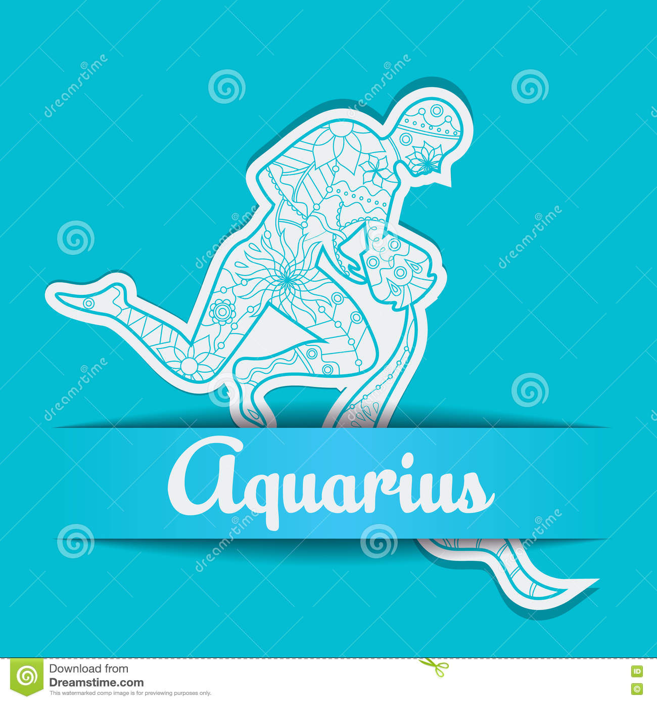 Background With Zodiac Sign Aquarius Stock Vector