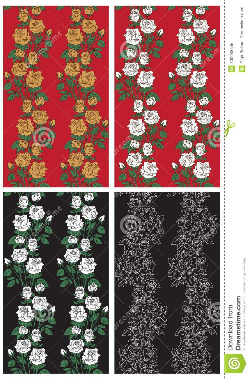 Backgrounds Roses On Black And Red Stock Vector Illustration Of
