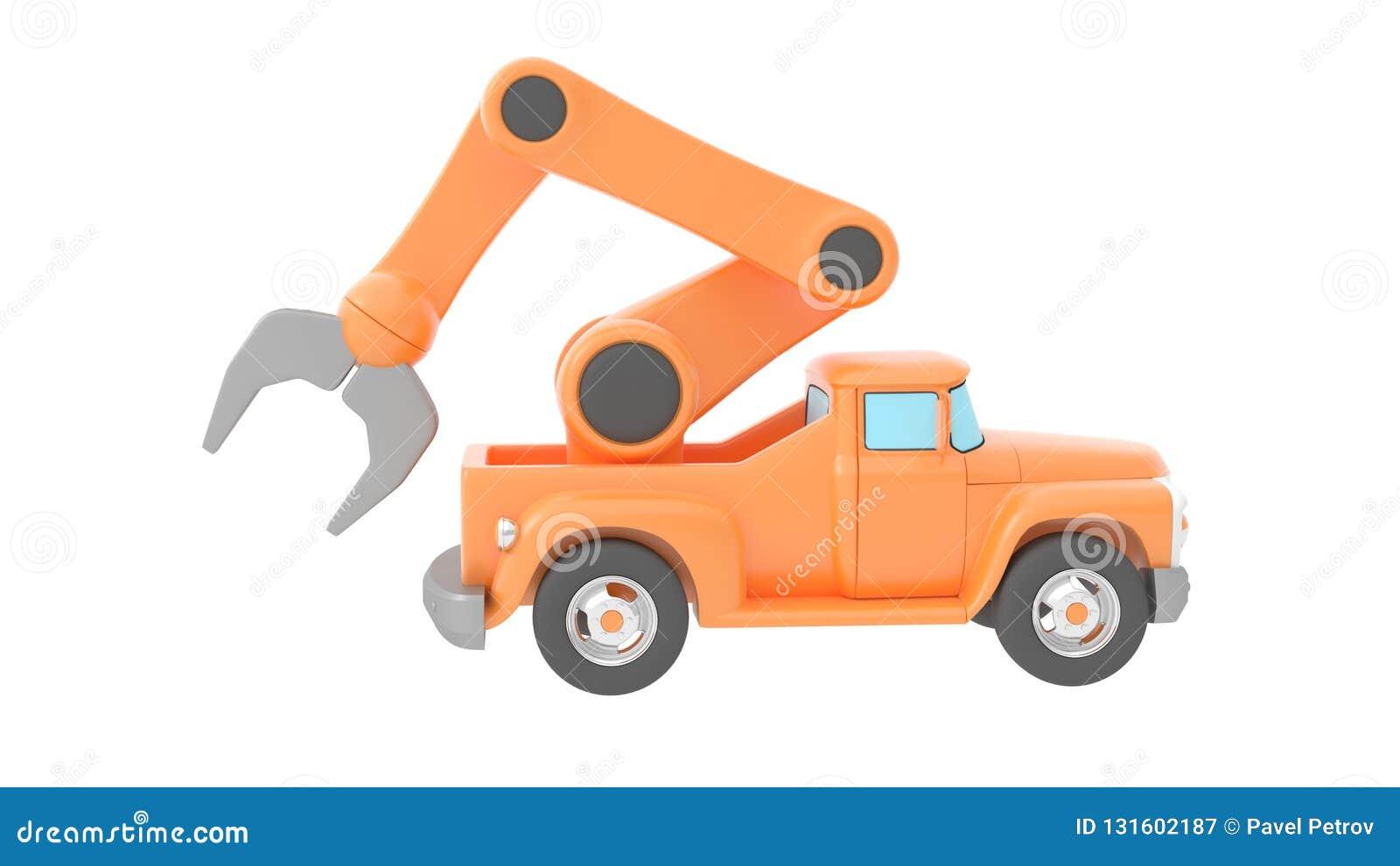 Backgroung起重机查出在玩具卡车白色 3d翻译