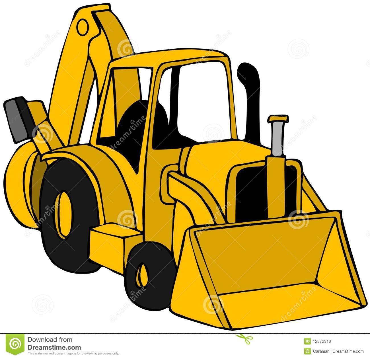 This illustration depicts a yellow construction backhoe.