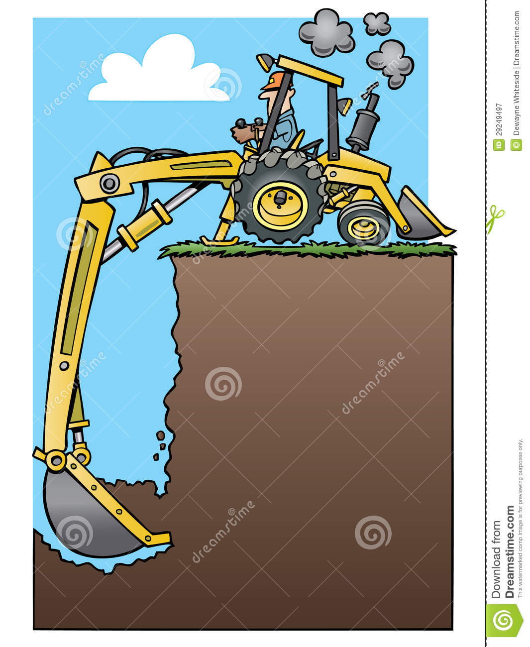Backhoe Tractor Digging A Deep Hole Royalty Free Stock