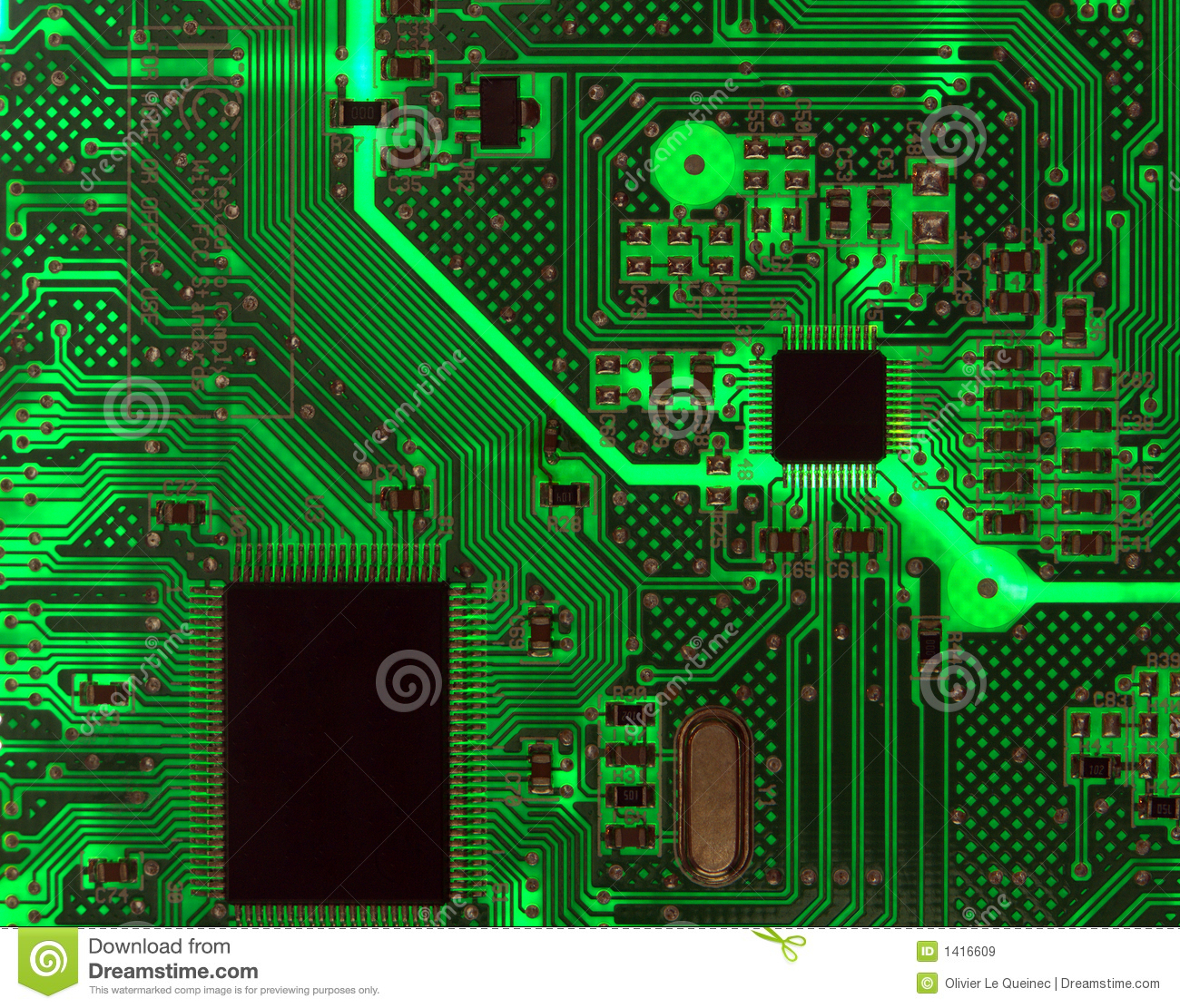 Backlit Computer Circuit Board Background Royalty Free ...
