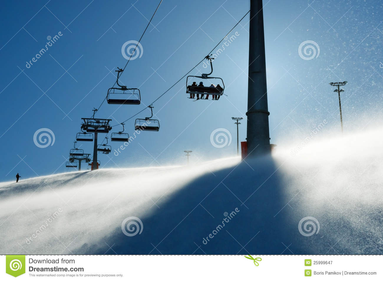 Backlit scenes with ski lift chairs royalty free stock for Hillside elevator cost