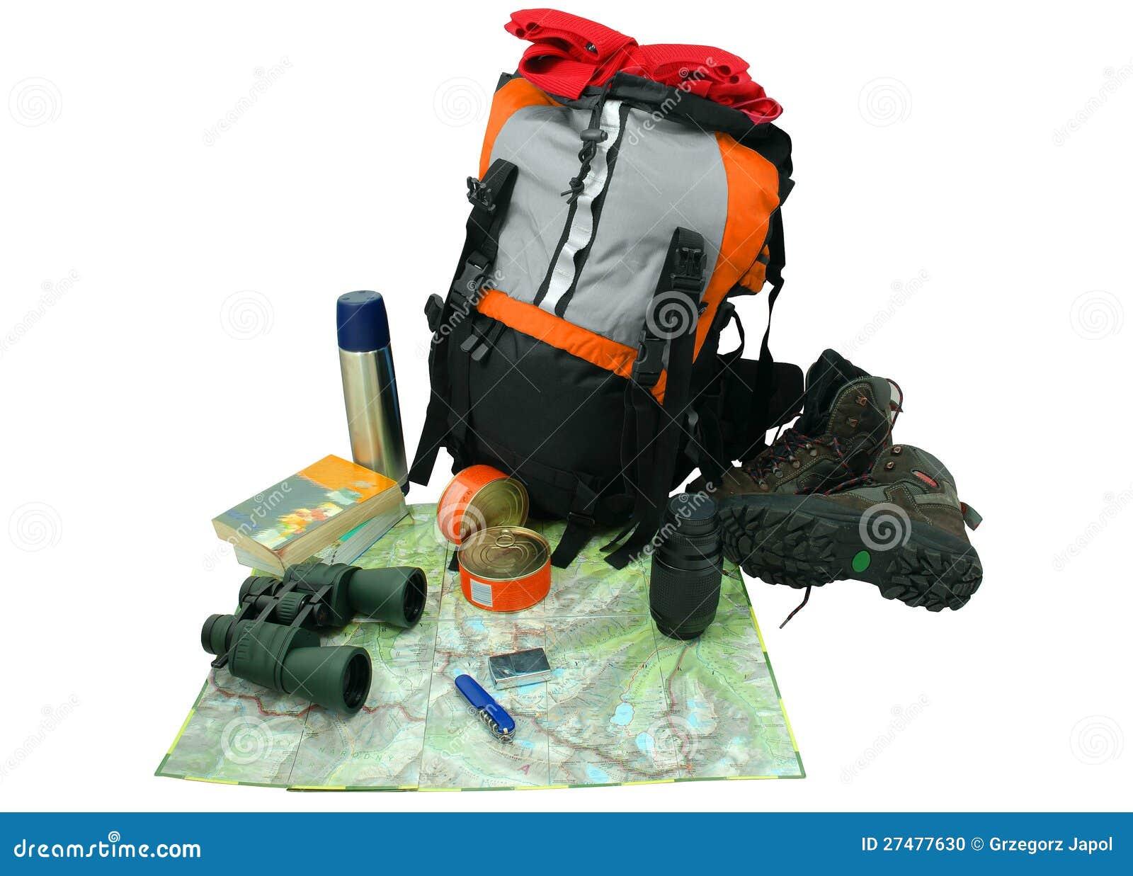 Backpack при туристское оборудование изолированное на белизне