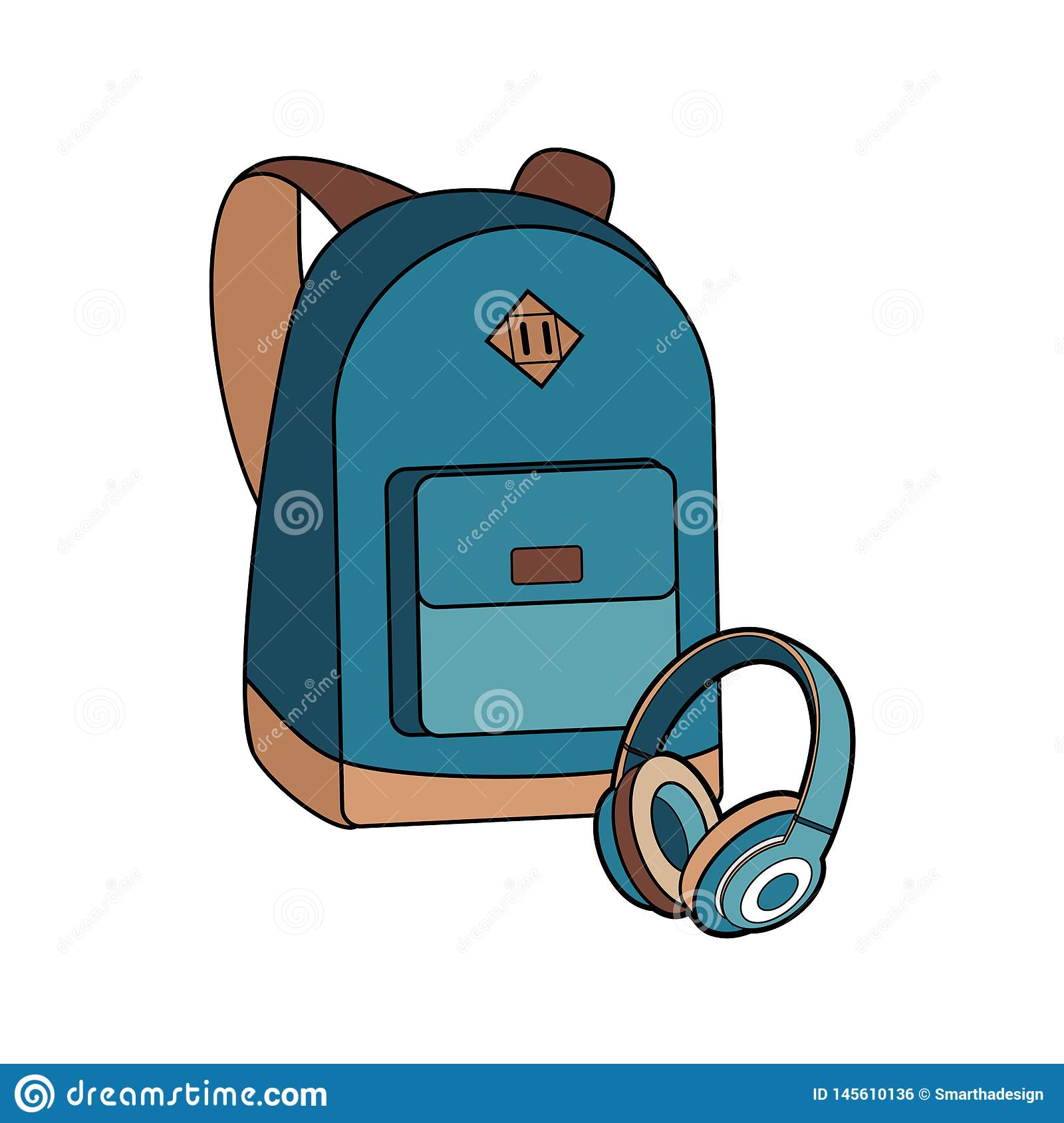 Backpack, bag, rucksack and headphones vector isolated set. Youth fashion hipster knapsack illustration in minimalist style.