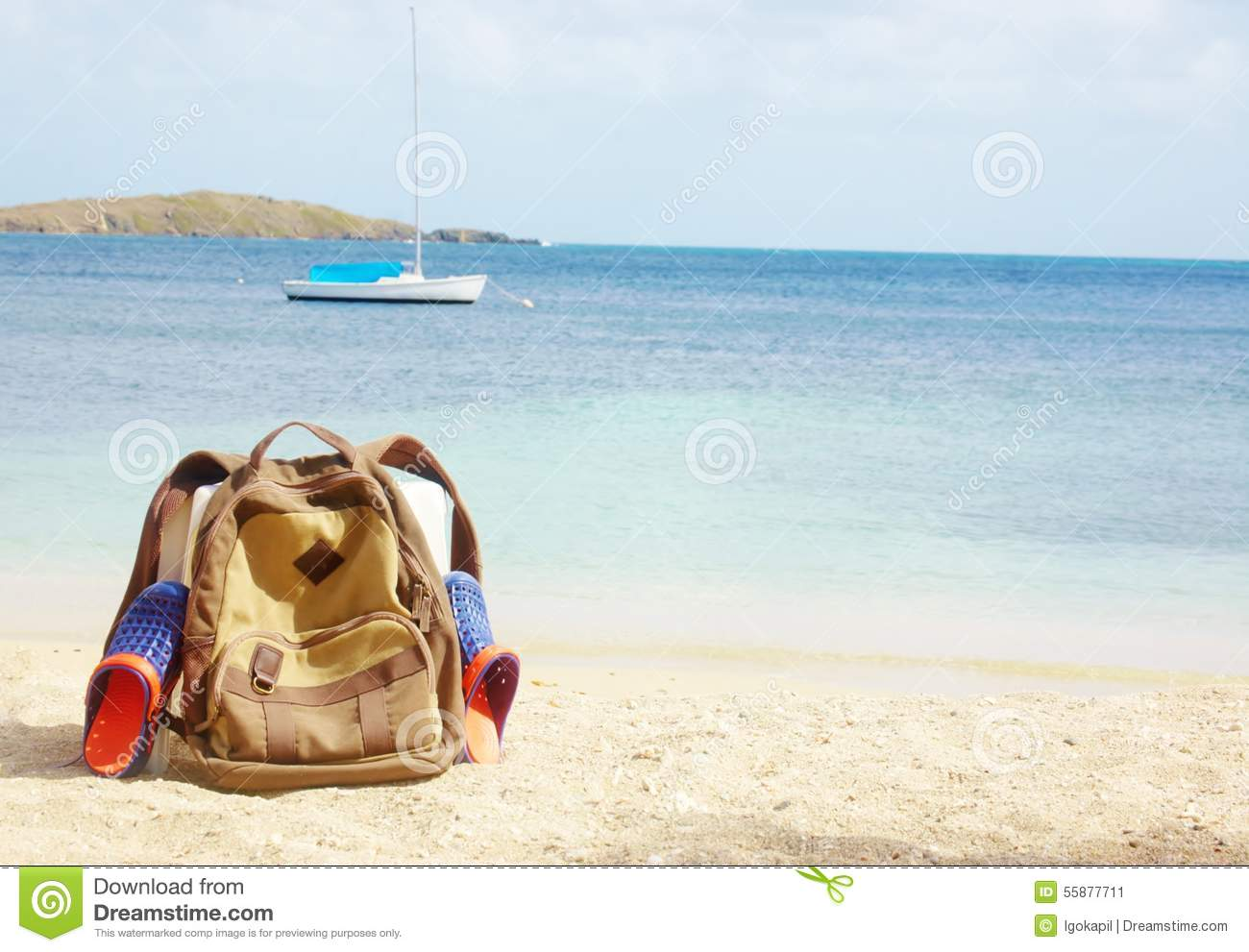 Backpack Beach Sandals Seaside Yacht Adventure Stock Image Image