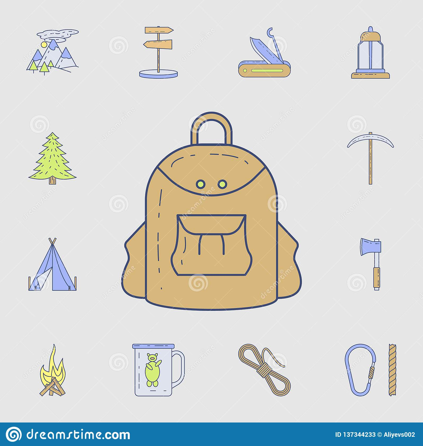 Backpack For Camping Icon Detailed Set Of Color Camping Tool Icons Premium Graphic Design One Of The Collection Icons For Stock Illustration Illustration Of Hiking Picnic 137344233