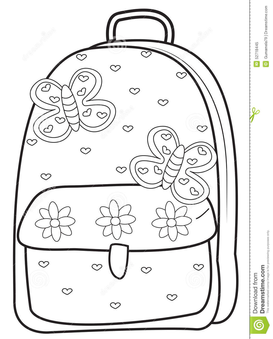 Backpack Coloring Page Stock Illustration Illustration Of Clip - Backpack-coloring-pages