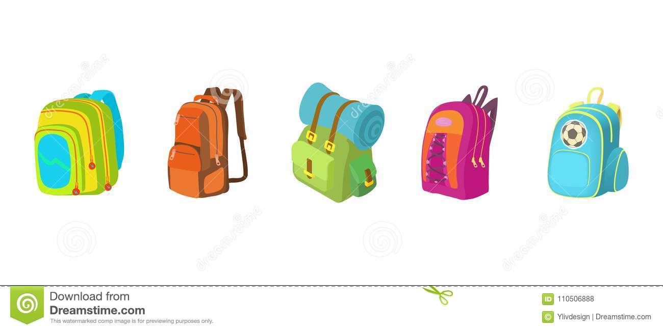 d94947fb1 Backpack icon set. Cartoon set of backpack vector icons for web design  isolated on white background