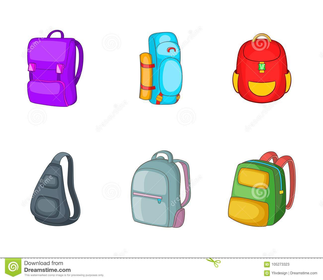 a398c815f Backpack icon set. Cartoon set of backpack vector icons for your web design  isolated on white background